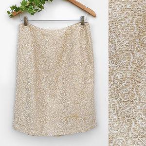 Ann Taylor Shiny Jacquard Pencil Skirt sz 10